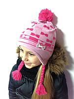 Шапка для девочки розовая р.52,54