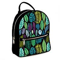Городской рюкзак Тропические листья 30х28х7см черный