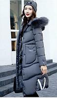 Распродажа модели!Зимнее женское стёганое пальто-пуховик с  мехом на капюшоне, фото 1