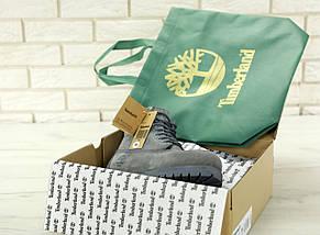 Женские (мужские) зимние ботинки в стиле Timberland 6 inch Grey с натуральным мехом, фото 2