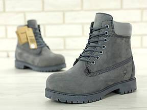Женские (мужские) зимние ботинки в стиле Timberland 6 inch Grey с натуральным мехом, фото 3