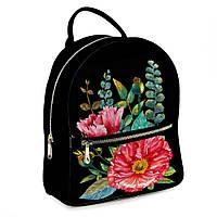 Городской рюкзак Цветы 30х28х7см черный