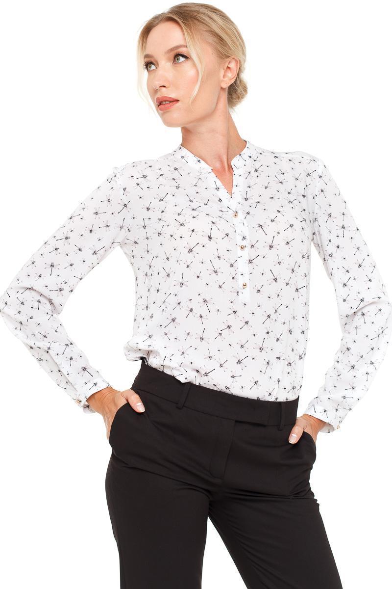 Блуза VILONNA 09 удлиненная с принтом 34 Белый (F71120-34)