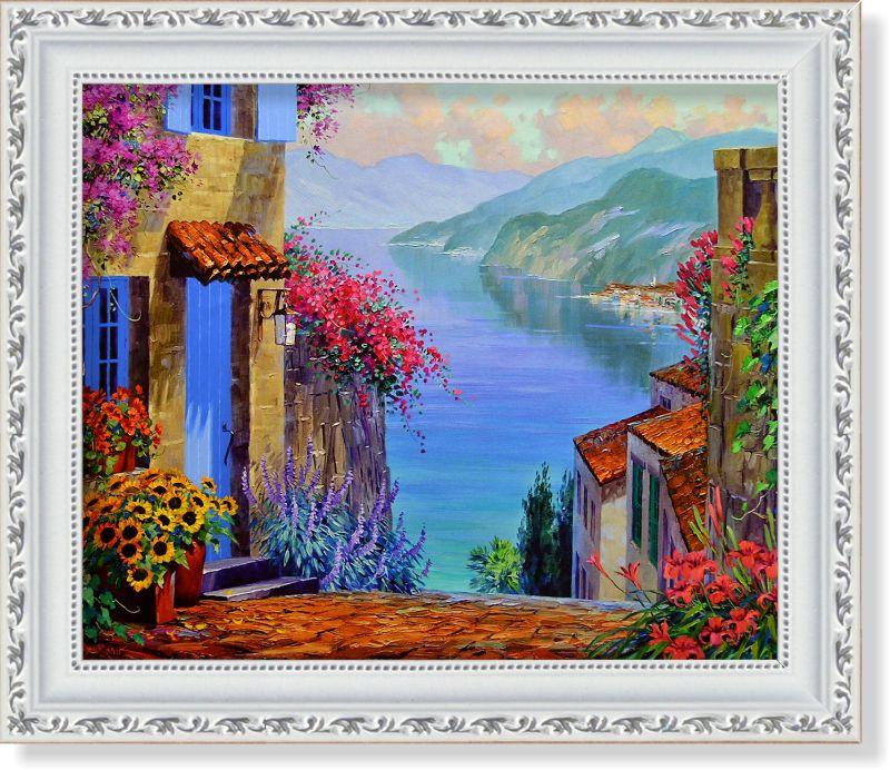 Репродукция  современной картины  «Отражения озера Комо»