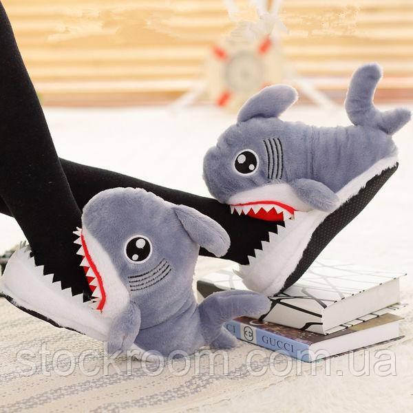 Мягкие Плюшевые Тапочки Акула
