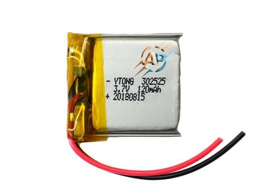 Аккумулятор 120mAh 3.7v 302525 для видеорегистраторов, наушников, блютуз гарнитур, MP3 плееров