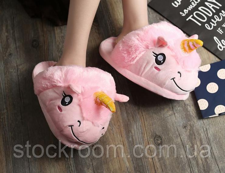 Мягкие Плюшевые Тапочки Единорог (Pink)