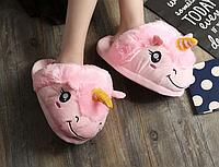 Мягкие Плюшевые Тапочки Единорог (Pink), фото 1