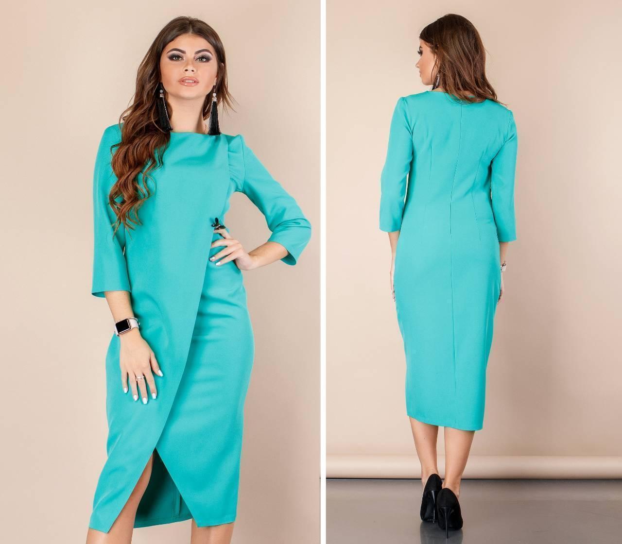 Платье женское на запах, модель 131, цвет - бирюза