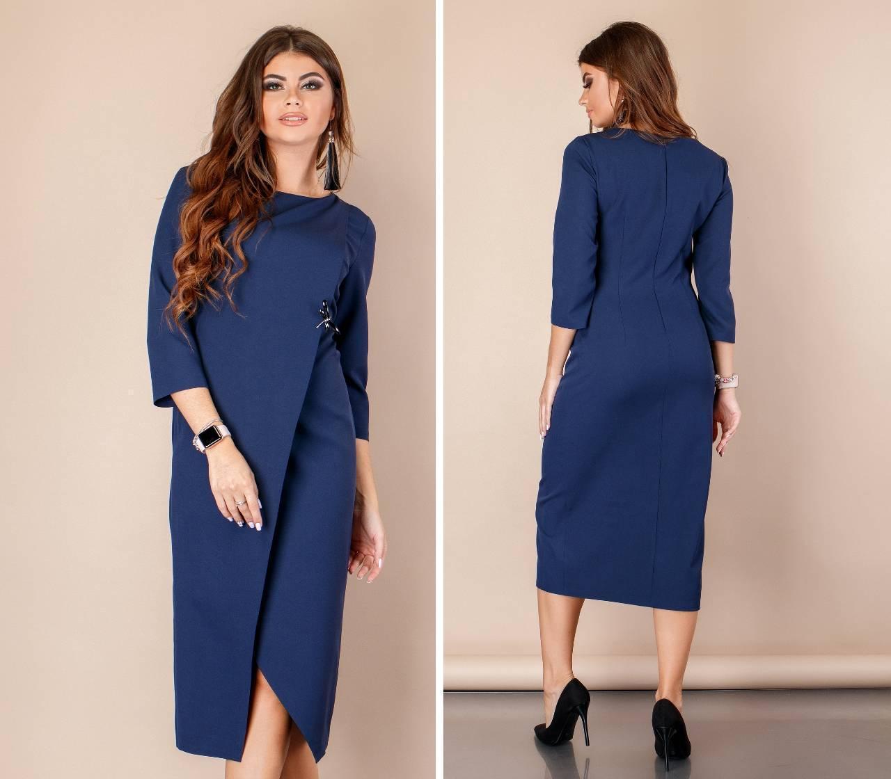 Платье женское на запах, модель 131, цвет - синий