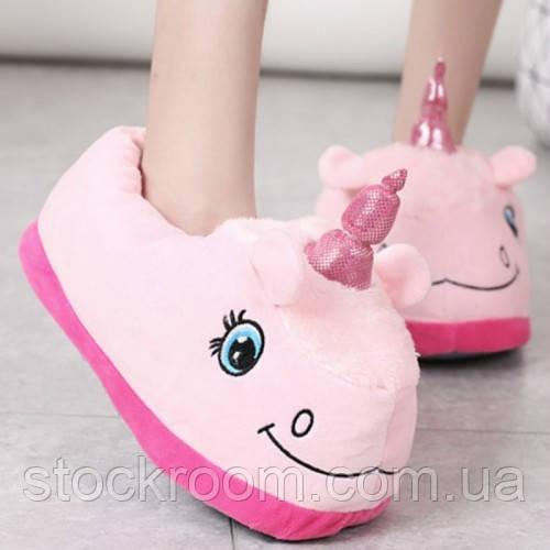 Мягкие Плюшевые Тапочки Единорог с задниками (Pink)