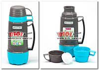 Термос 0,6л пластиковый со стеклянной колбой (цвет - серо-бирюзовый) + 3 чашки Kamille KM-2079-1