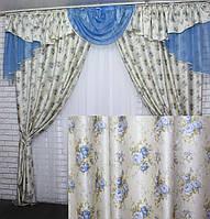 """Комплект шторы с ламбрекеном коллекция """"Элит Прованс"""" на карниз 3м. Код 050лш312, фото 1"""