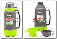 Термос 1,8 л пластиковий зі скляною колбою (колір - сіро-салатовий) + 3 чашки Kamille KM-2081-2, фото 1