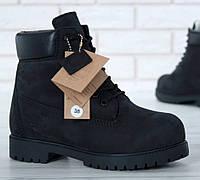 Мужские зимние ботинки Timberland classic 6 inch black с натуральным мехом. Реплика