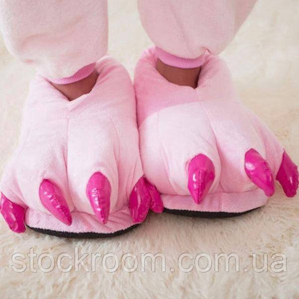Мягкие Плюшевые Тапочки Кигуруми Лапы (Pink)