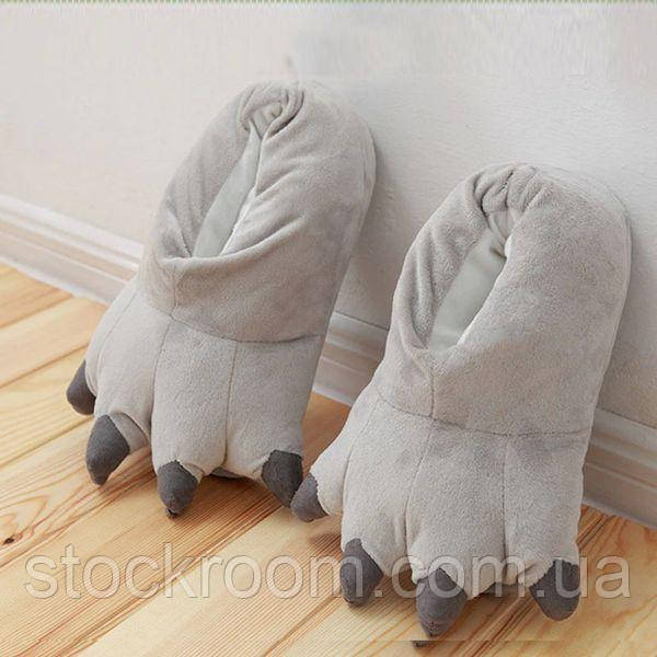Мягкие Плюшевые Тапочки Кигуруми Лапы (Grey)