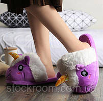 Мягкие Плюшевые Тапочки Единорог (Purple)