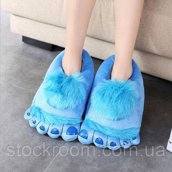 Мягкие Плюшевые тапочки Ноги первобытного человека (Blue)