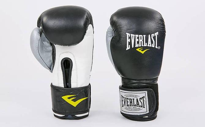 Рукавички боксерські шкіряні на липучці ELAST MA-6750-BKS (вага 10-12oz, чорний-срібло)