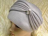 Женская шапка - чалма кашемировая с декоративной жемчужиной  серый, фото 5