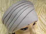 Женская шапка - чалма кашемировая с декоративной жемчужиной  серый, фото 7