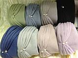 Женская шапка - чалма кашемировая с декоративной жемчужиной  серый, фото 10