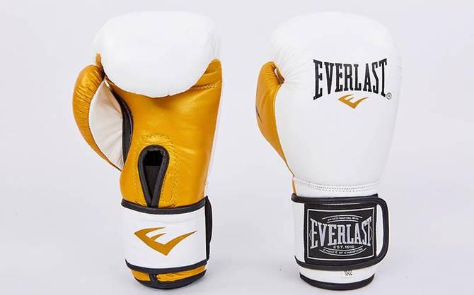 Рукавички боксерські шкіряні на липучці ELAST MA-6750-W (вага 10-12oz, білий-золото)