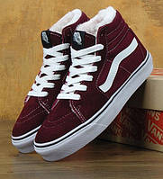 Зимние кеды Vans old school SK-8 HI bordo с мехом (Реплика ААА+)