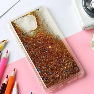 Чехол Glitter для Meizu M5 Note Бампер Жидкий блеск золотой