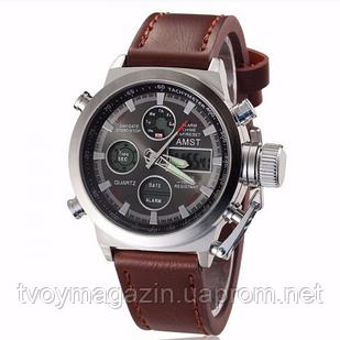 Армейские наручные часы AMST 790 (коричневый кожаный ремень) Годинник