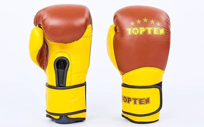 Рукавички боксерські шкіряні на липучці TOP TEN MA-6756-BR (вага 10-12oz, коричневий)