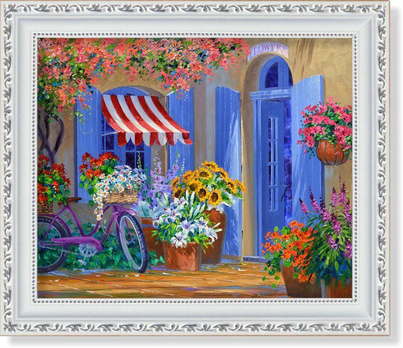 Репродукция  современной картины  «Взять домой корзину с цветами»