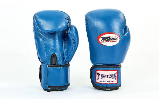 Рукавички боксерські шкіряні на липучці TWIN VL-6631-B (вага 10-14 синій)
