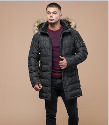 Куртка зимняя молодежная Braggart Youth пятнистая черная топ реплика, фото 2