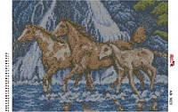 Алмазная вышивка «Лошади». АВ-3023 (А3). Полная выкладка