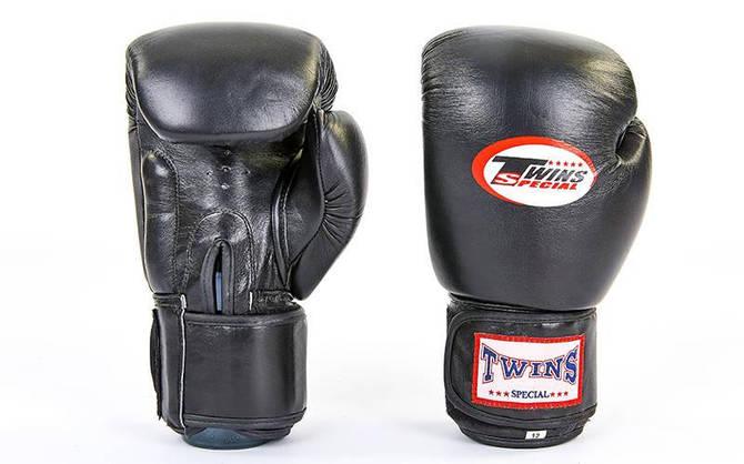 Рукавички боксерські шкіряні на липучці TWIN VL-6631-BK (вага 10-14oz, чорний)