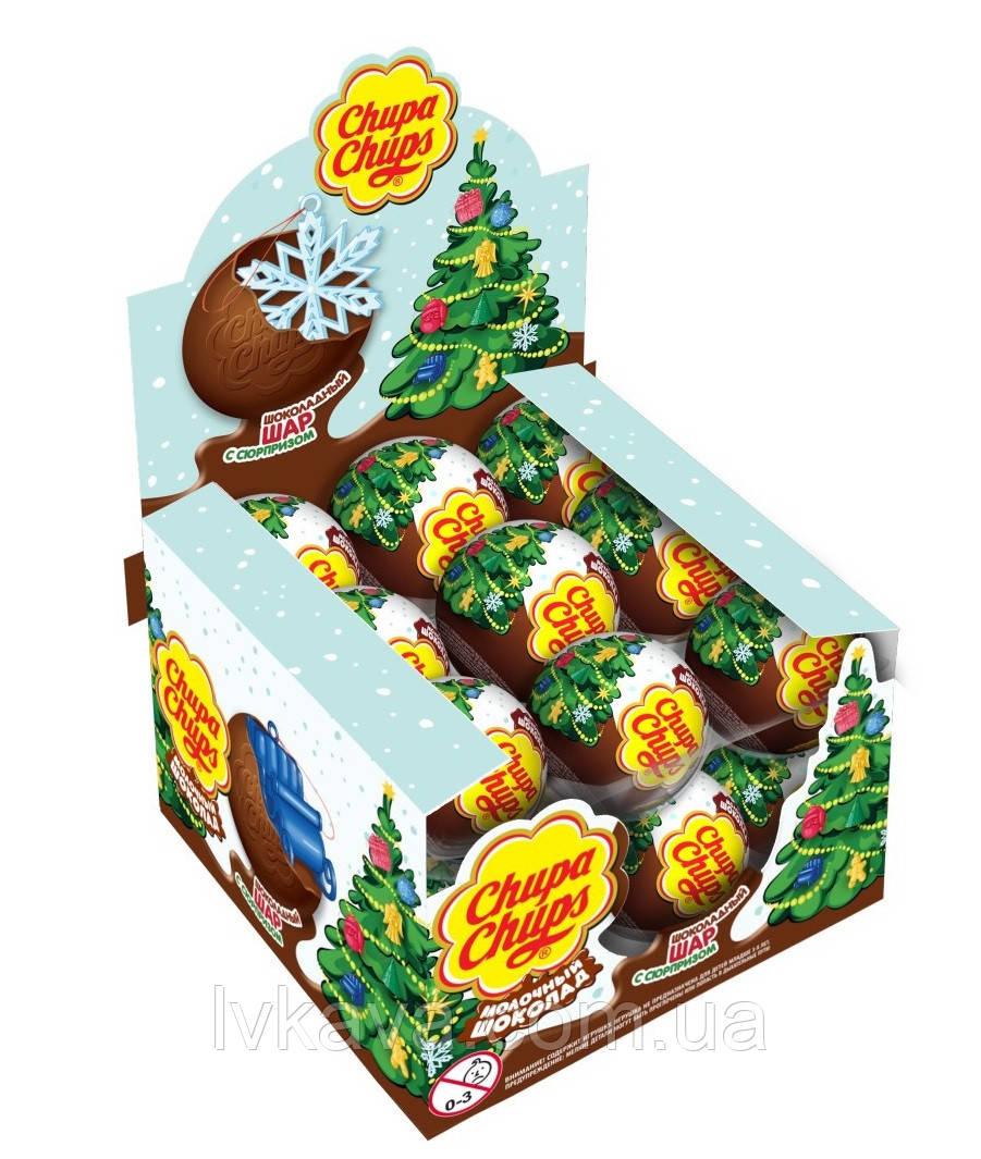 Шоколадный шар Новый год Chupa Chups с сюрпризом , 20 g X 18 шт
