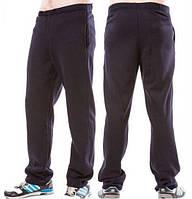 Зимние спортивные брюки мужские утепленные трикотажные прямые, темно синие