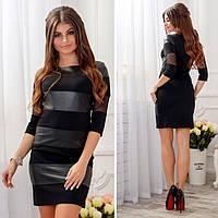 Трикотажное платье с вставками из эко-кожи