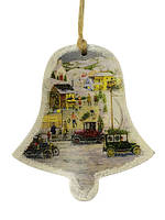 Деревянная игрушка-открытка на ёлку, Колокольчик