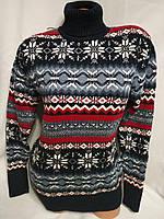 Женский шерстяной вязаный свитер под горло со снежинками, синий.Турция., фото 1