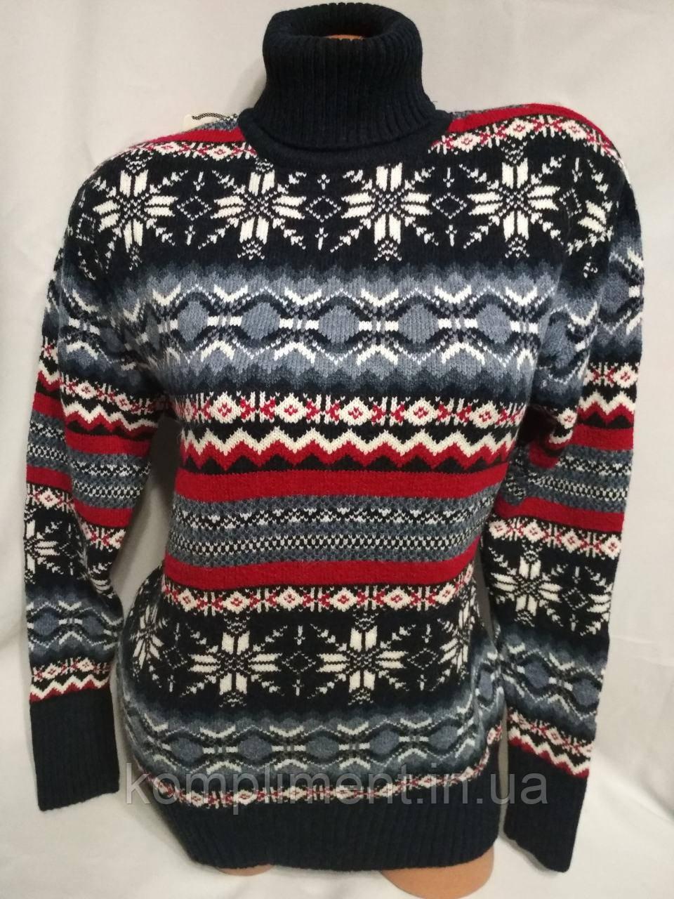 Женский шерстяной вязаный свитер под горло со снежинками, синий.Турция.