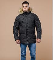 Куртка зимняя молодежная Braggart Youth с мехом черная топ реплика