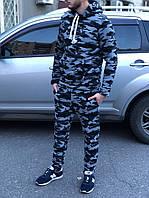 Спортивный костюм мужской камуфляжный с капюшоном зимний утепленный. Живое фото