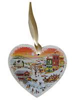 Деревянная игрушка-открытка на ёлку, Сердце