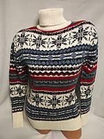 Женский шерстяной вязаный свитер под горло со снежинками, белый.Турция., фото 1