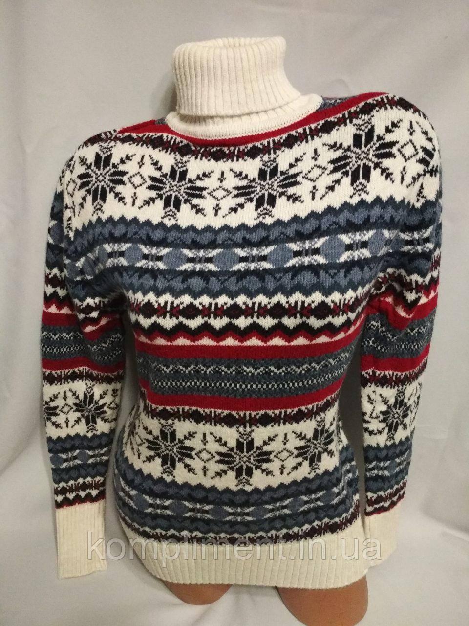 Женский шерстяной вязаный свитер под горло со снежинками, белый.Турция.