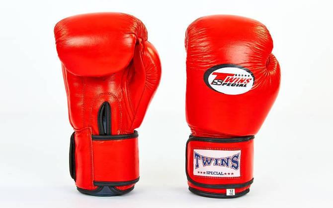 Рукавички боксерські шкіряні на липучці TWIN VL-6631-R (вага 10-14oz, червоний)