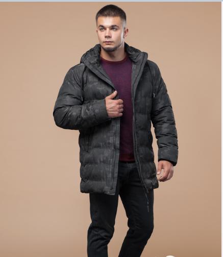 Куртка стеганая зимняя молодежная Braggart Youth черного пятнистого цвета топ реплика